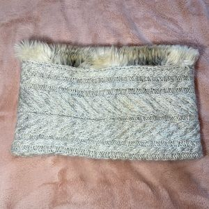 Knit faux fur lined muff